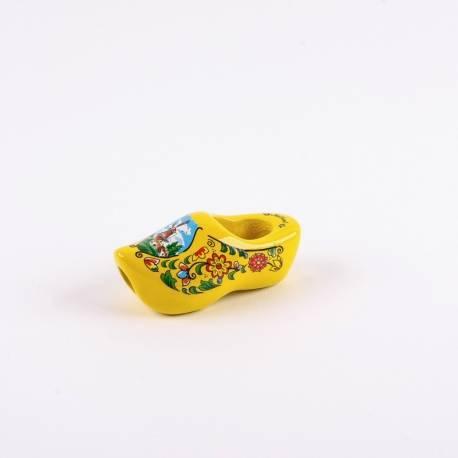 Dasklompje van 7 cm Geel + molendecor/bloemetjes