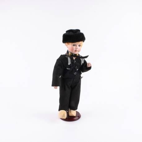 Pop in klederdracht man Volendam zwart/zwart 26 cm