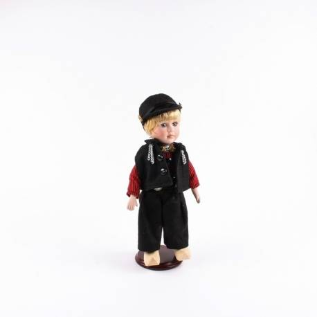 Pop in klederdracht man Volendam Zwart/Rood 26 cm