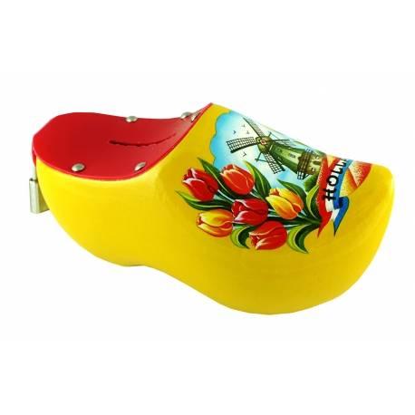 Spaarpotklompje geel met tulpen en molen