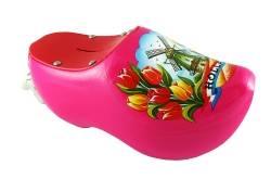 Spaarpot klompje roze met tulpen en molen