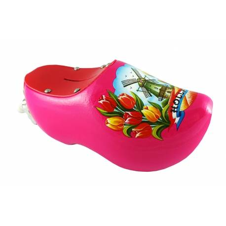 Spaarpotklompje roze met tulpen en molen