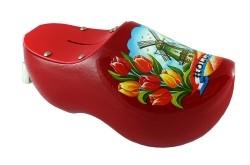 Spaarpot klompje rood met molen en tulpen