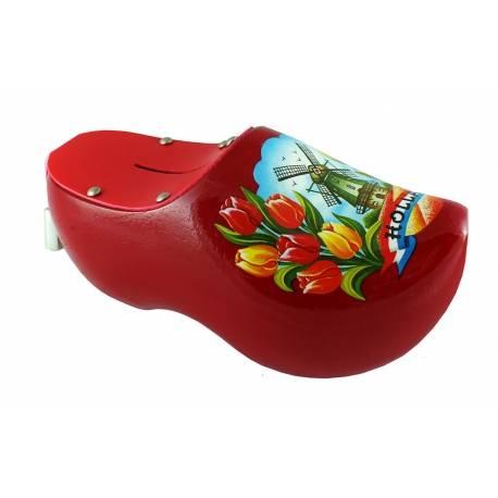 Spaarpotklompje rood met molen en tulpen