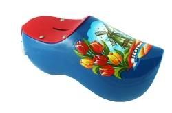 Spaarpot klompje blauw met molen en tulpen