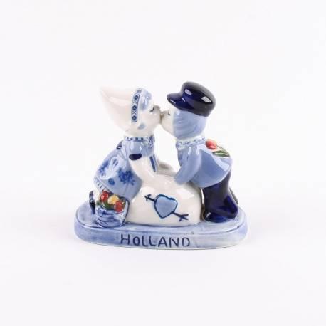 Kussend Paartje + Love Holland Delftsblauw 10 cm