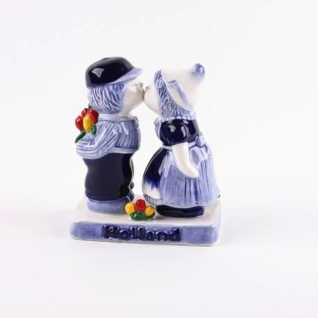 Kussend Paartje Delftsblauw met bloemen 10 cm