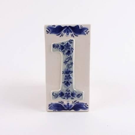 Huisnummer 1 Delfts Blauw Keramiek