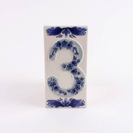 Huisnummer 3 Delfts Blauw Keramiek