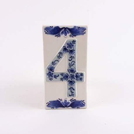 Huisnummer 4 Delfts Blauw Keramiek