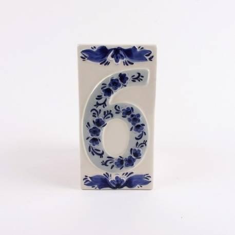 Huisnummer 6 Delfts Blauw Keramiek
