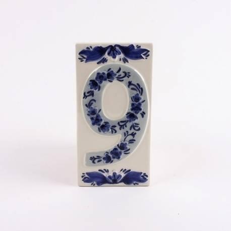 Huisnummer 9 Delfts Blauw Keramiek