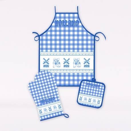 Driedelige keukenset Delftsblauw kussend paartje8717