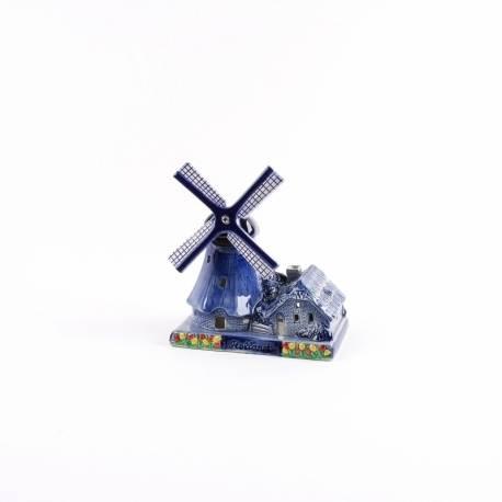 Poldermolen keramiek met waxinelicht delftsblauw 14 cm