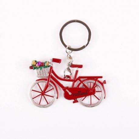 Sleutelhanger fiets rood met tulpen