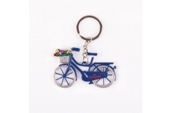 Sleutelhanger fiets blauw met tulpen
