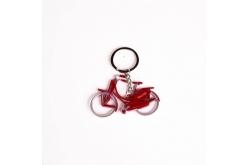 Sleutelhanger fiets metallic rood