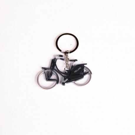 Sleutelhanger fiets metallic zwart