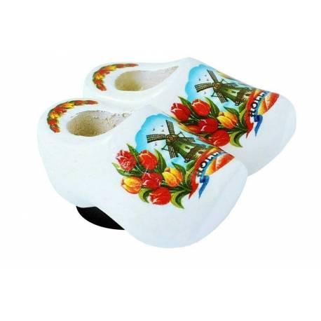 Magneetklomjes Wit met tulpen 4 cm