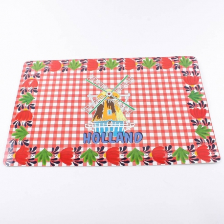 Placemat rode ruit molen Holland 43 x 28 cm