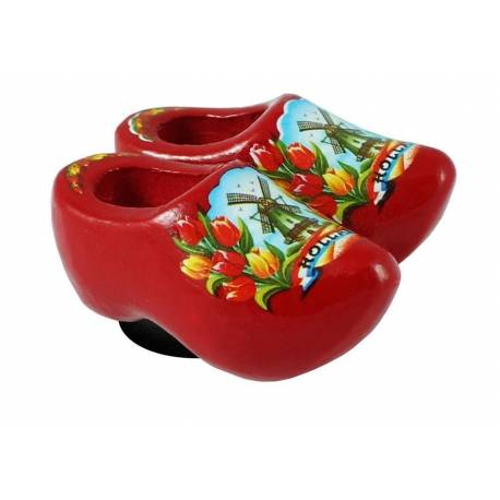 Magneetklompjes Rood met tulpen 4 cm
