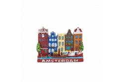 Magneet Grachtenhuisjes Rood Amsterdam