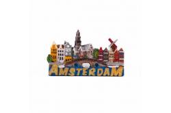 Magneet stadstafereel glitter Amsterdam