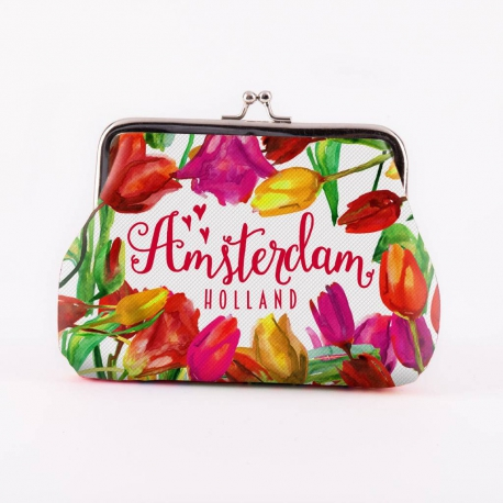 Knip portemonnee groot tulpen multicolor